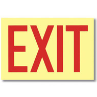 "Sign, Exit, Glow in the Dark, self-adhesive vinyl, 12"" w x 8"" h"