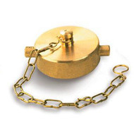 """2.5"""" Brass Caps w/ Chain for FDC, Hydrant, and Valve Connections"""
