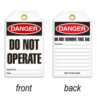 Tags, DANGER, Do Not Operate, Do Not Remove This Tag, 25/pkg