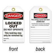 Tags, DANGER, Locked Out Do Not Operate, This Energy Source Has Been Locked Out, 25/pkg