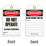 Tags, DANGER, Do Not Operate Electrical Department, 25/pkg