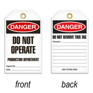 Tags, DANGER, Do Not Operate Production Department, 25/pkg