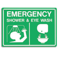 Emergency Shower & Eye Wash Sign w/ Graphics, Green and White