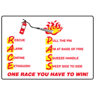 Fire Extinguisher RACE and P.A.S.S. Procedure Signs