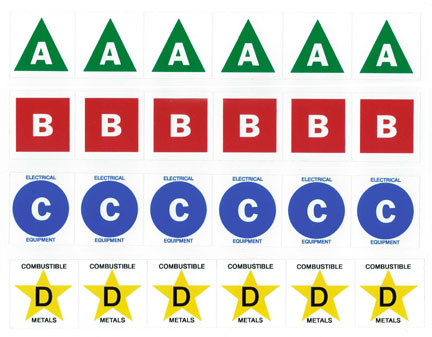 Fire Extinguisher Class A B C And D Lettersymbol Labels 15 And 3