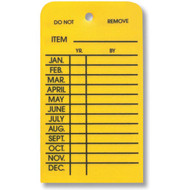 Outdoor Inspection Tags, 1 Sided, 12 month, Yellow Plastic, 10/pkg