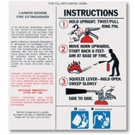 Carbon Dioxide Fire Extinguisher Nameplate Labels w/ Instructions