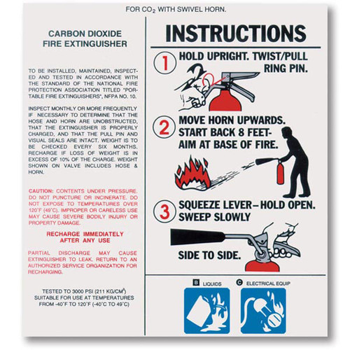 Carbon Dioxide Fire Extinguisher Nameplate Labels W Instructions