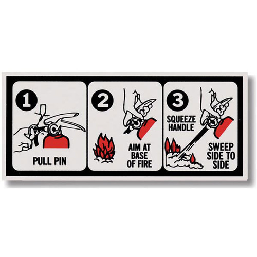 Pictorial Fire Extinguisher Instruction Label Self Adhesive