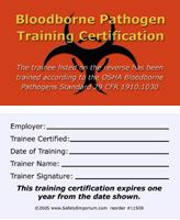 Bloodborne Pathogen Training Certification Cards