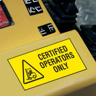 Forklift Label, Certified Operators Only w/ Graphic