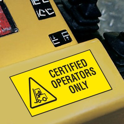 Forklift Label Certified Operators Only W Graphic