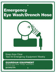 Guardian 250-010G Emergency Eye Wash/Drench Hose Sign