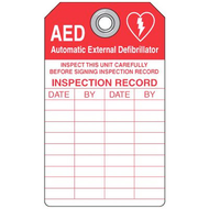 Emergency Defibrillator (AED) Inspection Tags, Plastic, 5/pkg