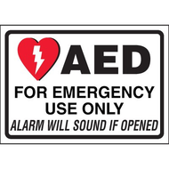 AED Label: AED For Emergency Use Only Alarm Will Sound if Opened