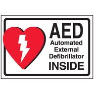 AED Label:  AED  Automatic External Defibrillator Inside