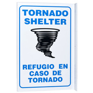 Bilingual English/Spanish Tornado Shelter Wall-Projecting L-Sign w/ Tornado Icon