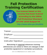 Fall Protection Training Certification Cards, 50/pkg
