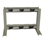 6 Gas Cylinder  Floor-Mounted Back to Back Storage Stand w/ Straps