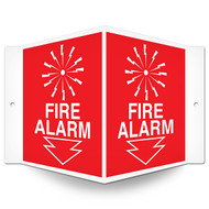 Fire Alarm Wall-Projecting V-Sign w/ Icon and Arrow