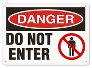 DANGER, Do Not Enter OSHA Signs w/ Prohibition Icon