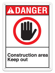 DANGER, Construction Area Keep Out ANSI Signs w/ Hand Graphic