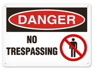 DANGER, No Trespassing OSHA Signs w/ Prohibition Icon