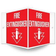 Fire Extinguisher Wall-Projecting V-Sign w/ Icon and Arrow