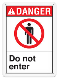 DANGER, Do Not Enter ANSI Signs w/ Prohibition Icon