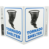 Tornado Shelter Wall-Projecting V-Sign w/ Tornado Icon