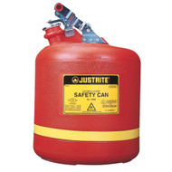 Justrite Type I Safety Can, 5 Gallon, Polyethylene, Red