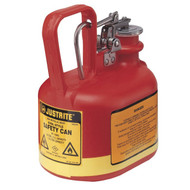Justrite Type I Oval Safety Can, 0.5 Gallon, Polyethylene, Red