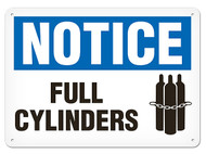 NOTICE Full Cylinders Signs w/ Chained Cylinders Icon