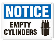 NOTICE Empty Cylinders Signs w/ Chained Cylinders Icon