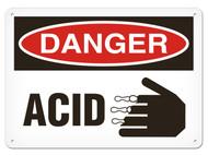 DANGER, Acid OSHA Signs w/ Corrosive Icon