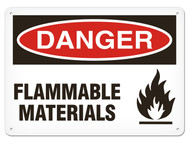 DANGER, Flammable Materials OSHA Signs w/ Flame Icon