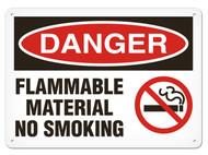 DANGER, Flammable Material No Smoking OSHA Signs w/ No Smoking Icon