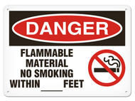 DANGER, Flammable Material No Smoking Within __ Feet OSHA Signs w/ No Smoking Icon