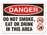 DANGER, Do Not Smoke, Eat Or Drink In This Area OSHA Signs w/ No Smoking and No Flame Icons