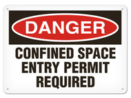 DANGER, Confined Space Entry Permit Required OSHA Signs