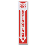 "Rigid plastic fire extinguisher sign w/ arrow, 4"" x 18"" plastic"