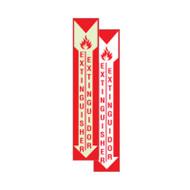"""Bilingual English/Spanish Fire Extinguisher Signs w/ Arrow, 4""""w x 18""""w"""
