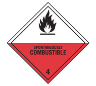 Class 4 Spontaneously Combustible DOT Shipping Labels, 500/roll