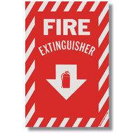 "Self-adhesive fire extinguisher sign w/ striping, 8""w x 12""h vinyl"