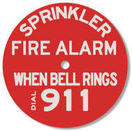 "Sprinkler Fire Alarm Plastic Sprinkler Identification Sign, Red, 7"" diameter"