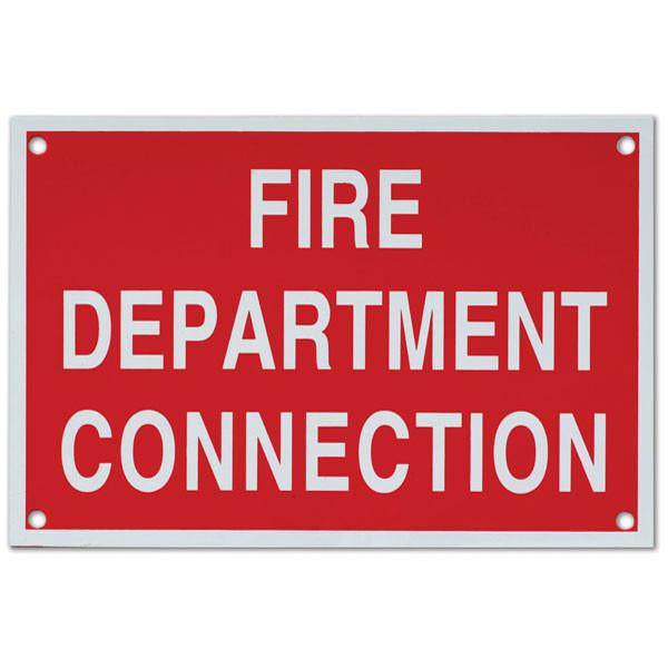 "Fire Department Connection Aluminum Sign, 6""w X 4""h ..."