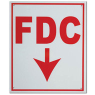 "FDC Fire Department Connection Aluminum Sign w/ Down Arrow, 10""w x 12""h"
