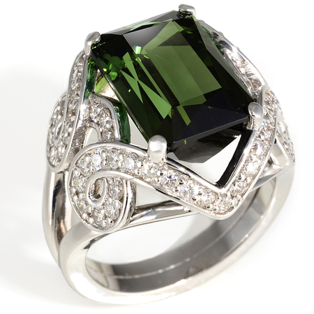 Green Tourmaline Gemstone Ring in 18K White Gold