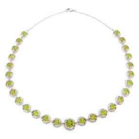 Peridot Necklace in 14 KT White Gold
