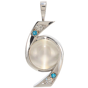 Cat's Eye Moonstone, Apatite and Diamond Pendant in 14 KT White Gold